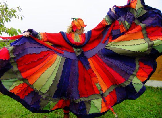 Rainbow Elf Coat: Cat, Upcycled Sweater, Fairy Sweater, Art Stored, Rainbow Sweater, Elf Coats, Design