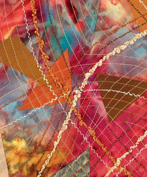 Use hefty threads, yarns, braids, and ribbons in the bobbin, and sew from the wrong side to create exciting stitched effects.