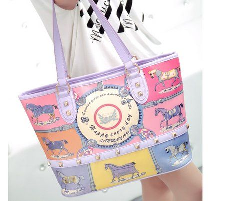 Modern Girl's New Fashion Candy-color printing Shoulder Bags Purple