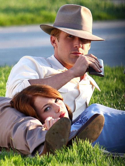 Ryan Gosling & Emma Stone, the incredible duo, filiming Gangster Squad