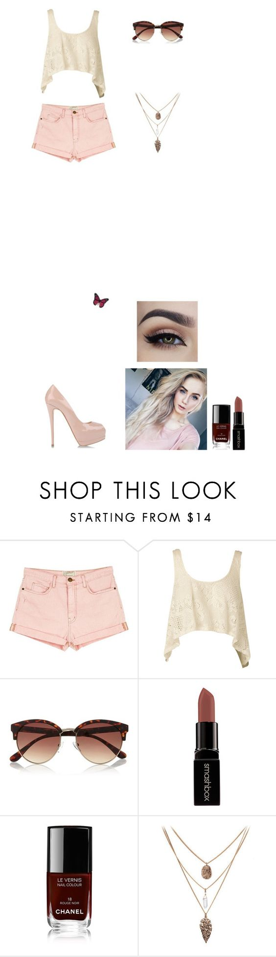 """""""Untitled #586"""" by irinyk ❤ liked on Polyvore featuring Current/Elliott, Nookie, River Island, Smashbox, Chanel and Giuseppe Zanotti"""