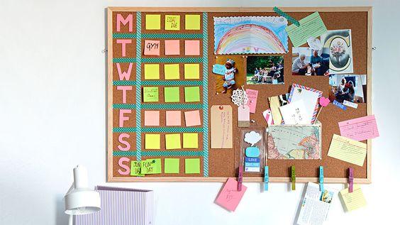 Corkboard with weekly calendar | Wall planner organisation ideas | Tesco Living