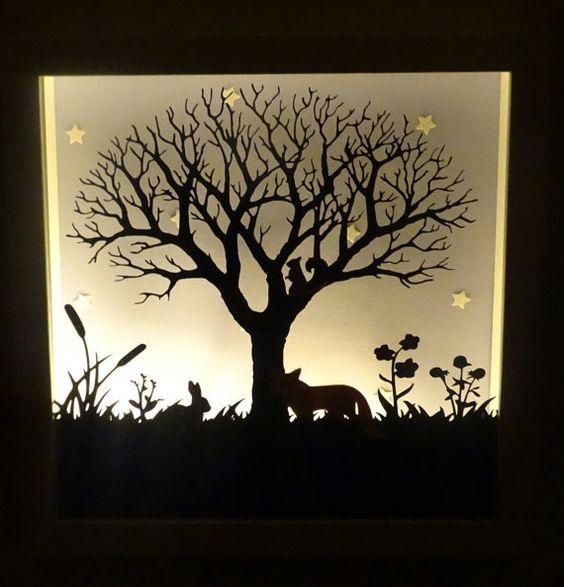 Silueta de árbol de vida silvestre luz por craftylittlefoxshops