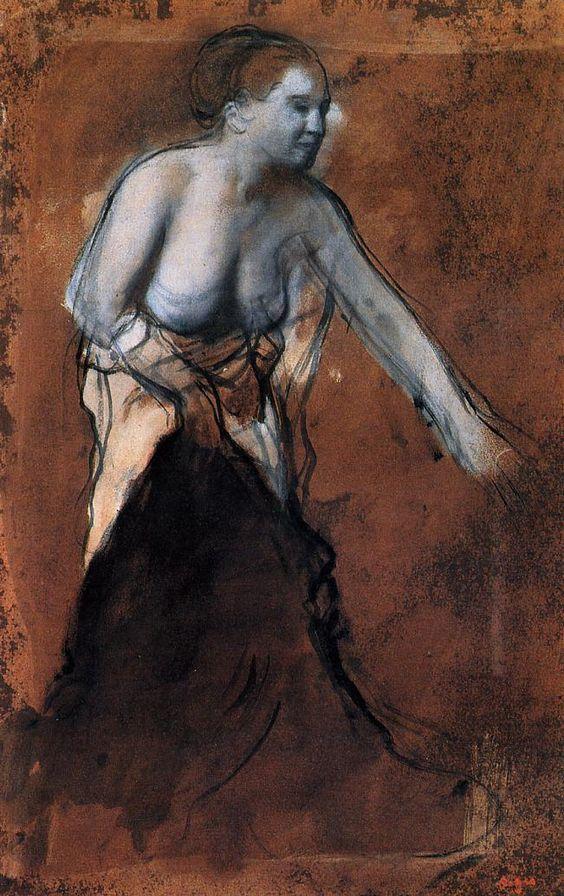Standing Female Figure with Bared Torso - Edgar Degas