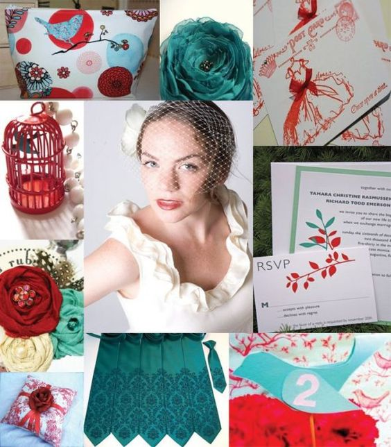 red and teal wedding theme - Google Search  im liking the wedding invite in the top right corner...
