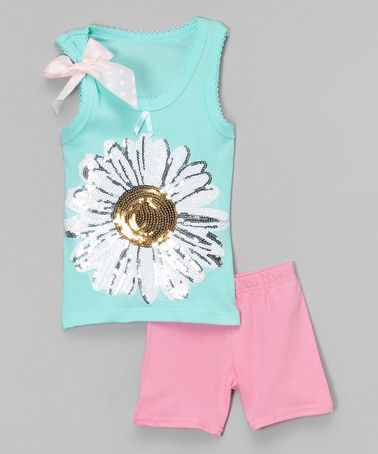 Loving this Blue Daisy Tank & Pink Shorts - Toddler & Girls on #zulily! #zulilyfinds