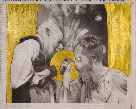 Christian Holstad, 1972 The Gift, 2009 matita su carta di giornale, foglia d'oro 23 carati, 22,1 x 27,4 cm.  Galleria civica di Modena