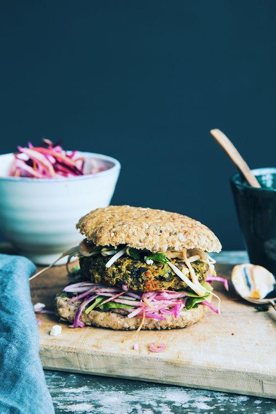 Chickpea & Garlic Mushroom Burger with Pink Coleslaw - two ways! — Nourish Atelier