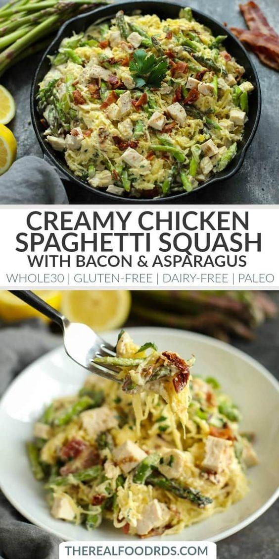 Creamy Chicken Spaghetti Squash with Asparagus