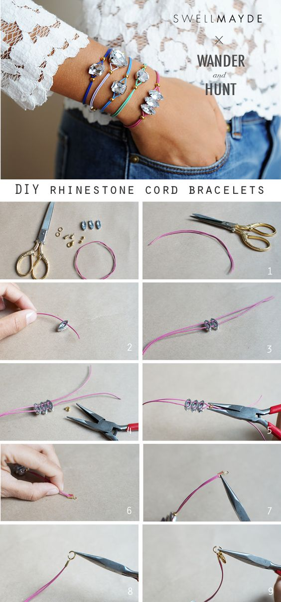 Buy the kit here.Kit Supplies:Assorted clear rhinestones Thin leather cord Crimps End crimps Jump rings Lobster clasps Jewelry plyers  ...:
