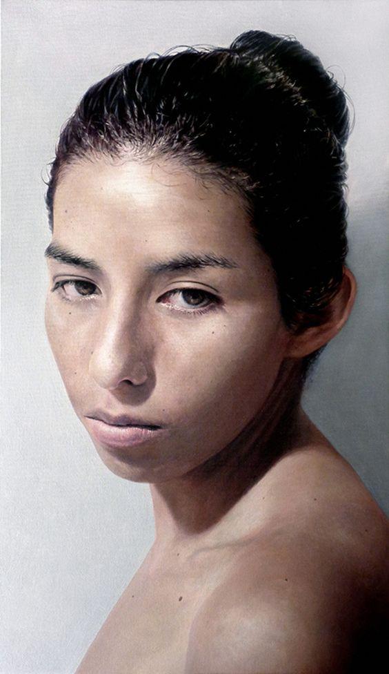 """La Nadora"" - Marcos Rey, oil on canvas {contemporary figurative realism artist female head shoulder woman face portrait painting}"