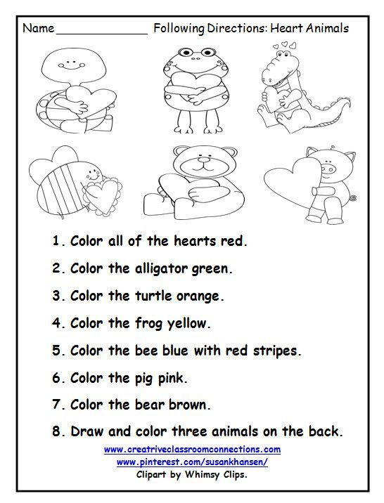 This Free Printable Is A Great February Activity For Following Directions You Can Listening Skills Worksheets Follow Directions Worksheet Following Directions