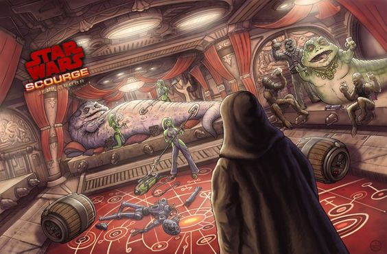Scourge scene by Jeff Carlisle featuring Mander Zuma, Popara and Zonnos the Hutt