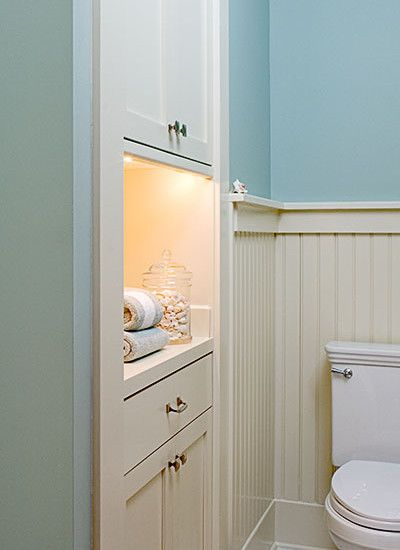 Beautiful Built In Cabinet In Between Studs In Bathroom