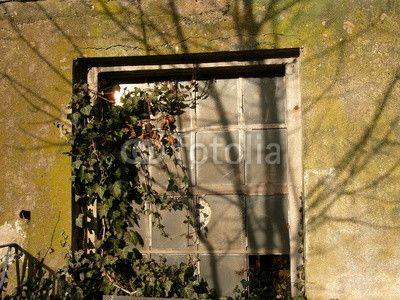 Vergilbtes Fenster einer alten Scheune auf dem Hofgut Richerode bei Jesberg im Schwalm-Eder-Kreis im Norden von Hessen