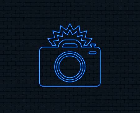 Neon Light Photo Camera Sign Icon Photo Flash Symbol Glowing Neon Blue Neon Lights Neon Lighting