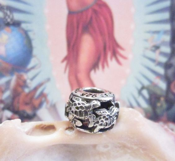 Hawaiian Sea TURTLE Charm Bead Designed, 3d Cad printed, cast in silver &  finished by us in USA  Says: HAWAII  fits European type bracelets