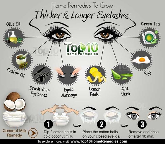 home remedies to grow thicker and longer eyelashes. Most of these are the same ingredients to promote longer thicker hair too...might as well as use the hair treatment on your eyelashes too...