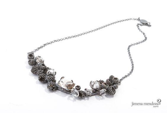 Collar Grande. Plata con diamantes herkimer Colección SIEGA