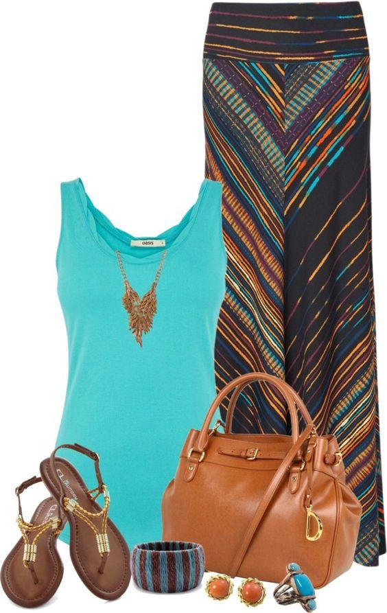 turquoise tank, black/multi v stripe maxi skirt, brown/gold sandals, chestnut bag, turquoise ring, orange/gold studs, gold necklace