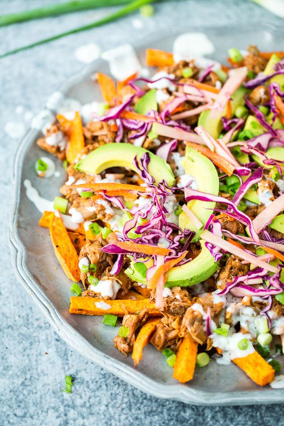 Welcome to the ultimate CDMP! Don't know what a CDMP is? It's because you haven't had these Loaded Sweet Potato Fries with BBQ Jackfruit and Red Cabbage Apple Slaw yet!