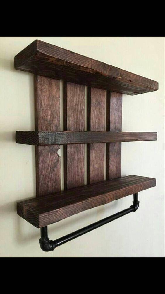 Rustic Bathroom Shelf W Pipe Towel Rack Home And Living Cottage Chic Nursery Decor