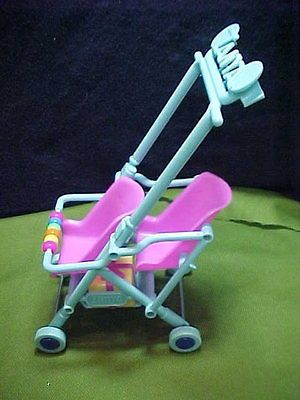 Barbie Double Baby Stroller For Kelly And Or Baby Dolls