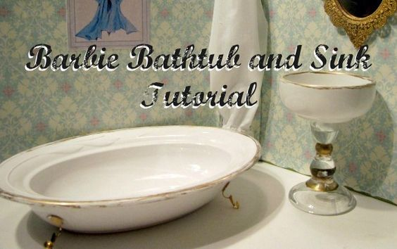 How to Make a Barbie Claw Foot Bathtub and Pedestal Sink