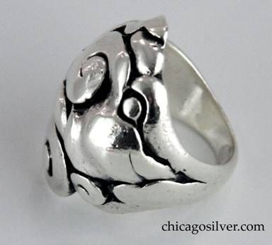 Peer Smed ring, massive, composed of large hand-worked freeform silver swirls and spirals.  Heavy.