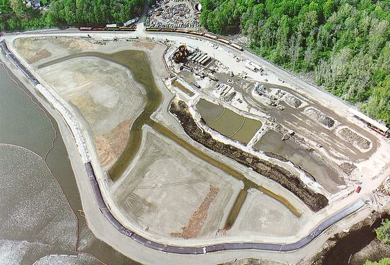 Arial view of the Marathon Battery Superfund Site on the Hudson River in Cold Spring, NY.