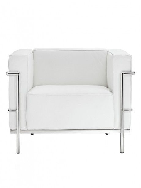 Simple Large Leather Armchair | White | Modern Furniture U2022 Brickell  Collection