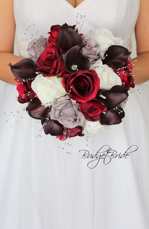 Burgundy Grey And Wine Wedding Flower Theme Brides Bouquet With