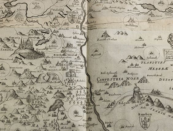 Detail of the 1650 folding map of Palestine from Thomas Fullers – Map Detail