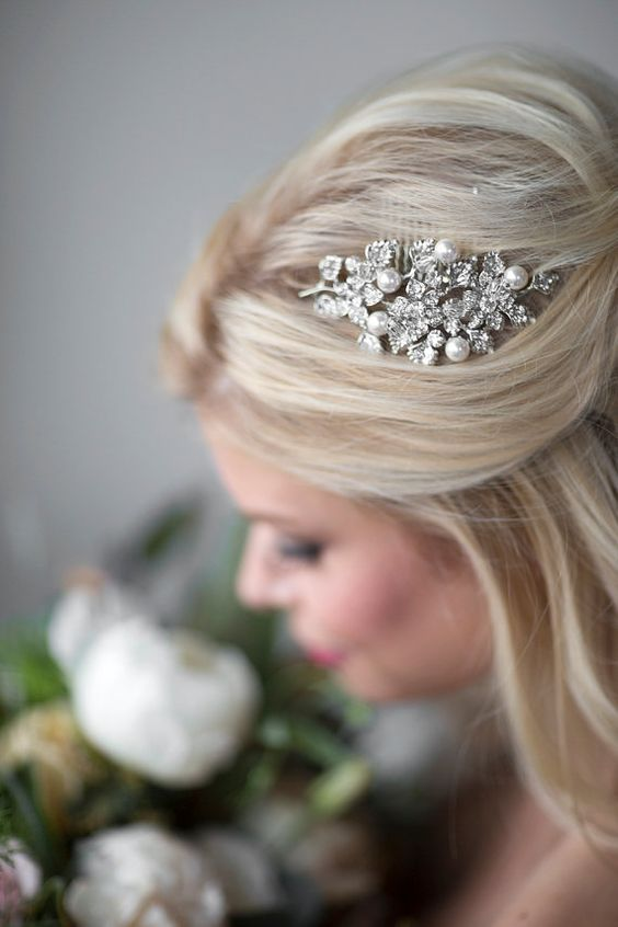 Bridal Pearl Hair Comb Wedding Hair Comb by PowderBlueBijoux