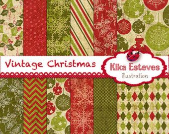 Texture Vintage Christmas Digital Papers -  Scrapbooking Papers - card design, invitations, paper crafts, web design - INSTANT DOWNLOAD