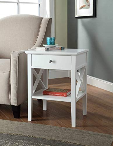 White Finish X Design Contemporary Nightstand Side End Table