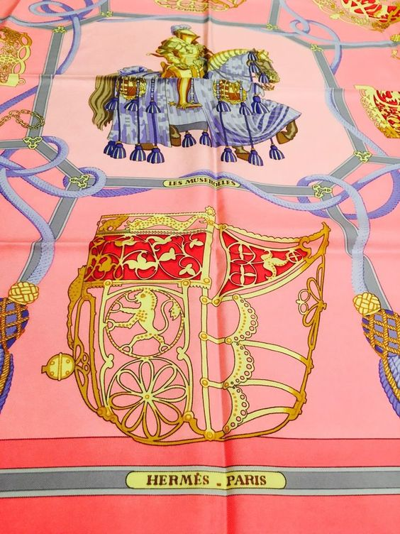 "rare HERMES 1986 Vintage Scarf ""Les Muserolles"" Horse Pink Blue Gray Gold EUC…"