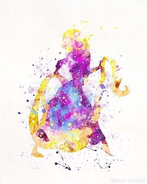 Rapunzel Poster Rapunzel Art Disney Princess Watercolor Art