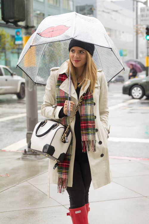 In The Rain (Gal Meets Glam) | Plaid scarf Style and Rain