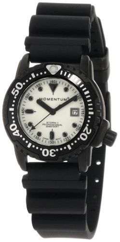 Momentum Women's 1M-DV87W1B Shadow II Ghost SE Black Hyper Natural Rubber Watch Momentum. $195.00. Black ion finish-316L Stainless case. Offset M-Lock crown. Water-resistant to 660 feet (200 M). Clean, legible superluminous dial. Unidirectional ratchet bezel
