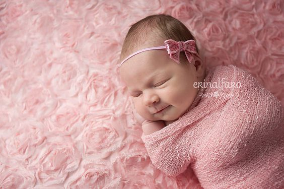 Delicate pink sequin bow on a skinny elastic band in pink. Perfect for dainty newborn photography sessions or to introduce your new little addition.  $6.00 from www.etsy.com/shop/bellagraziadesigns
