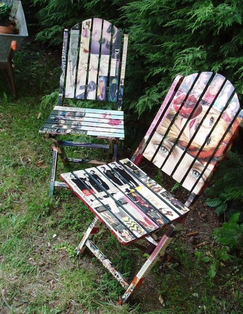Mod Podge magazine clippings to old furniture to create works of art!