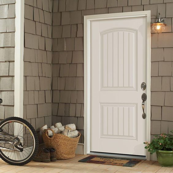 Masonite 36 in x 80 in cheyenne 2 panel painted smooth - Home depot exterior doors 36 x 80 ...