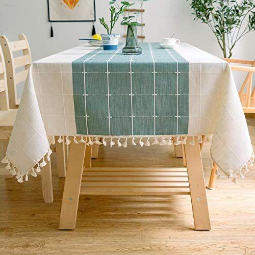 J Moose Nappe Solide Broderie A Carreaux Gland Coton Couverture De Table En Linge Pour Cuisine Salle A Manger Decoration De Nappe De Table Nappe Linge De Table