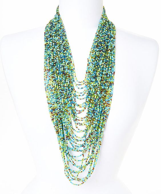 Look at this Made It Blue & Green Beaded Necklace on #zulily today!