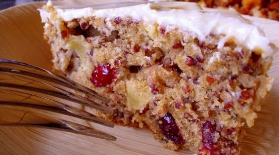 Red Quinoa, Apple & Cranberry Cake with Homemade Cream Cheese Frosting