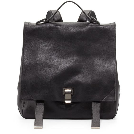 Proenza Schouler PS Large Leather Backpack ($2,340) ❤ liked on Polyvore featuring bags, backpacks, accessories, handbags, black, proenza schouler bag, leather rucksack, top handle bags, leather knapsack and expandable backpack