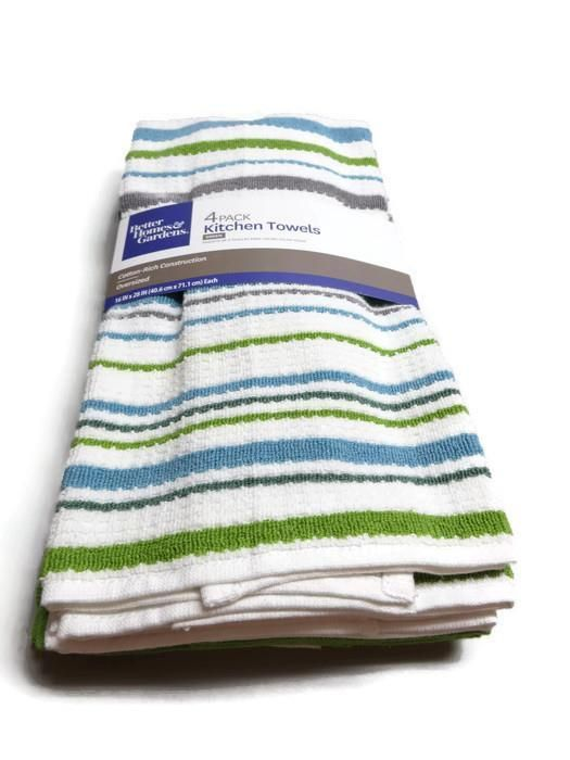 4 Pack Better Homes And Gardens Kitchen Towels Multi Color Stripes