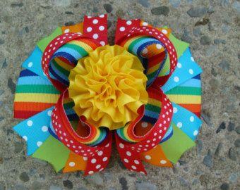 Arco del pelo grande Boutique Rainbow pelo arco Loopy flor pelo arco apilados