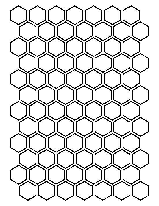 1.5 inch hexagon pattern. Use the printable outline for crafts ...